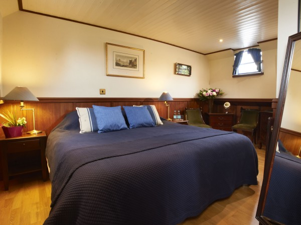 The cabins aboard the Magna Carta offer either king or twin bed accommodations