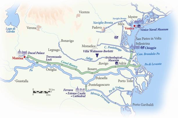 La Bella Vita's route in Italy between Venice and Mantua