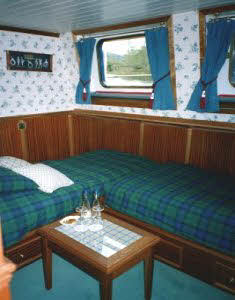 One of the three twin/double cabins aboard.  There is also a very large queen-bed suite at the bow.
